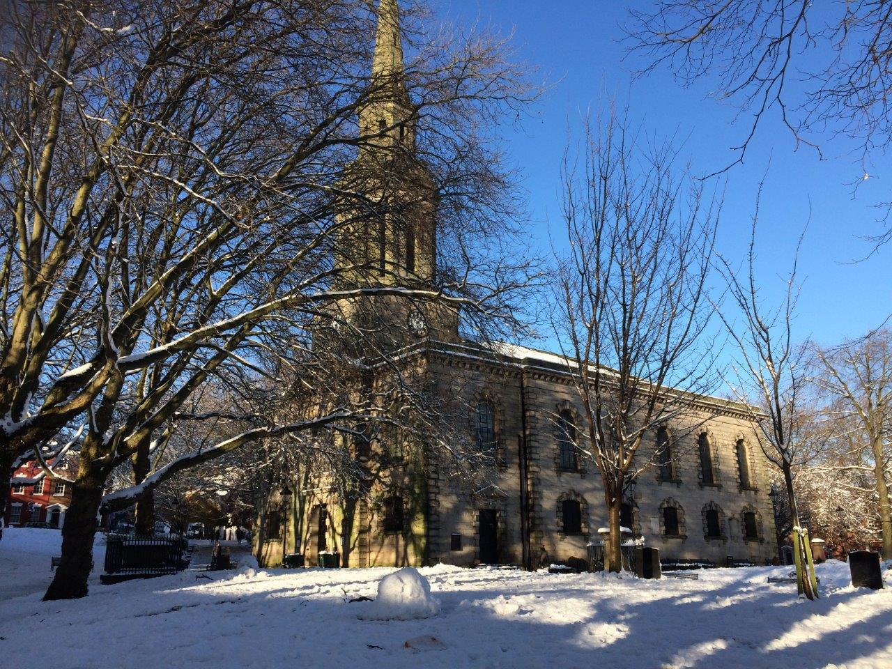 St Pauls Church with snow on the ground