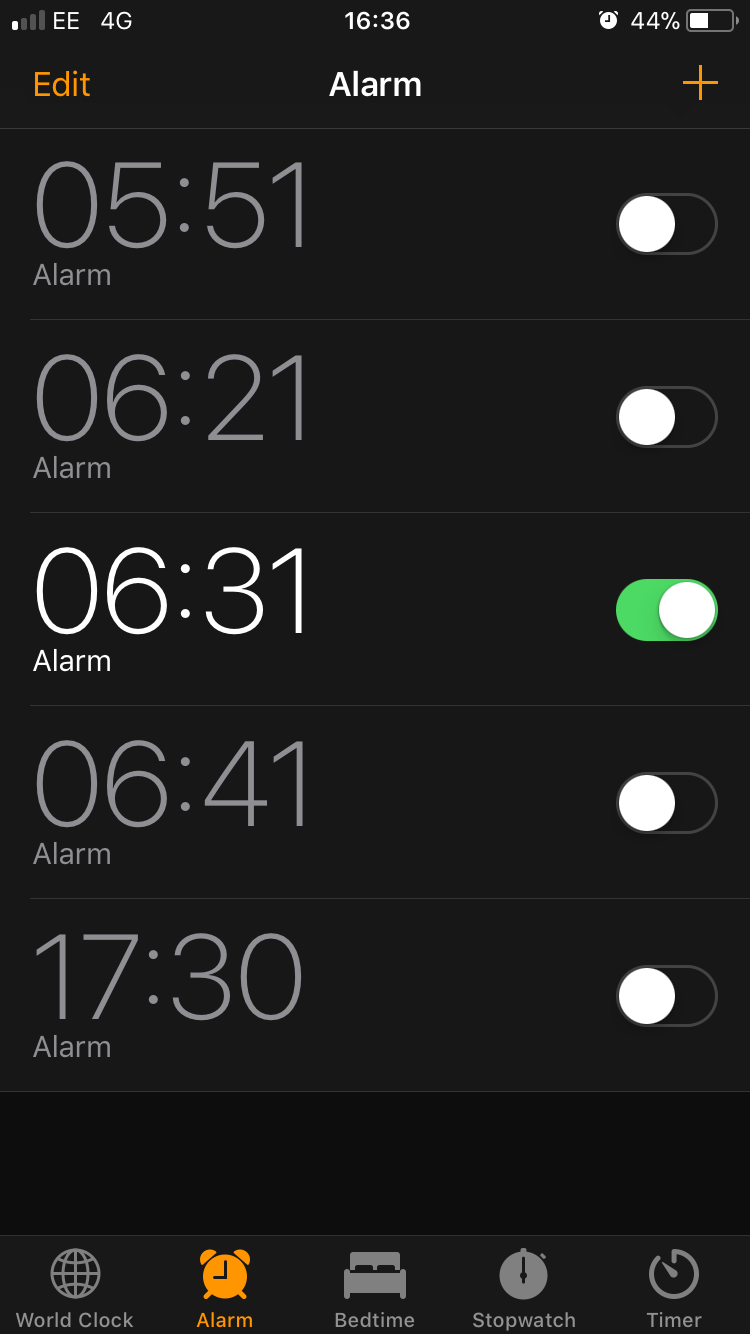 Alarm screen on phone